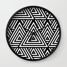 Triangle Pattern Black And White Wall Clock