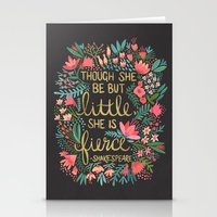 fierce Stationery Cards featuring Little & Fierce on Charcoal by Cat Coquillette