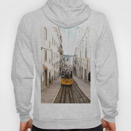 Yellow Tram in Alfama, the Old Town of Lisbon, Portugal   Fine Art Travel Photography   Europe Hoody