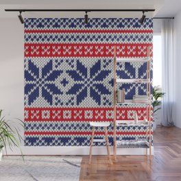 Winter knitted pattern 7 Wall Mural