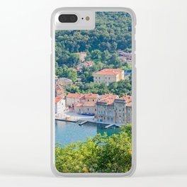 Aerial panoramic view to the seaport and old town in Istra, Croatia Clear iPhone Case