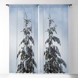Winter Trees - Snow Capped Forest Adventure Nature Photography Blackout Curtain