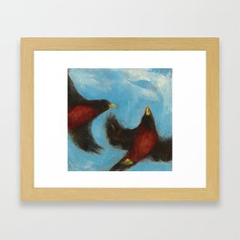 """In Sky"", painting of robins flying Framed Art Print"