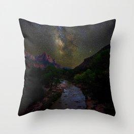 Galaxy Mountain (Color) Throw Pillow