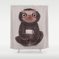 sloths Shower Curtains featuring Sloth I♥lazy by Lime