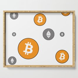 Ethereum and Bitcoin Pattern Serving Tray
