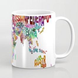 Text Map of the World Coffee Mug
