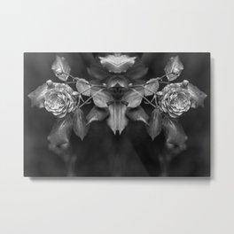 Mirroring black and white roses monochrome flowers Metal Print