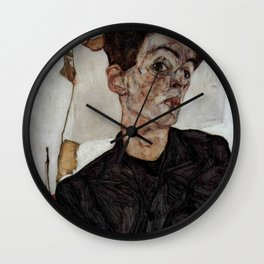 Egon Schiele , self-portrait Wall Clock