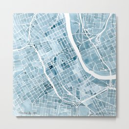 Map Nashville Tennessee Blueprint City Map Metal Print