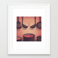 boobs Framed Art Prints featuring Boobs Kitchen by Davide Bonazzi