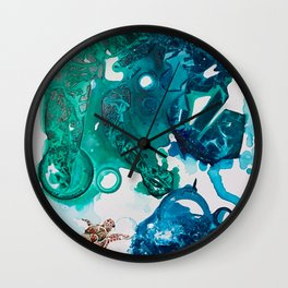 Turtle Exploring the Great Deep Blue Sea Wall Clock