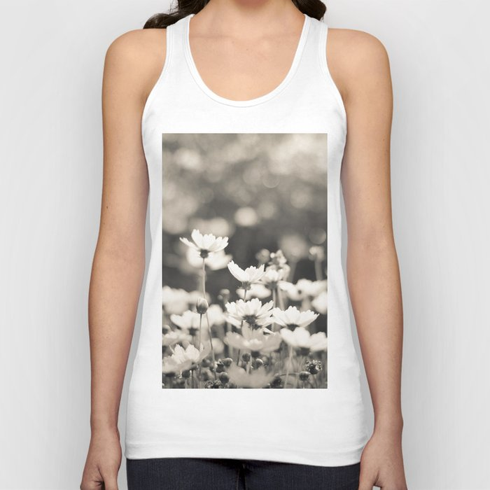 Black and White Daisy Unisex Tank Top