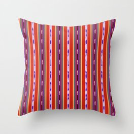 Red and Purple huipil Throw Pillow
