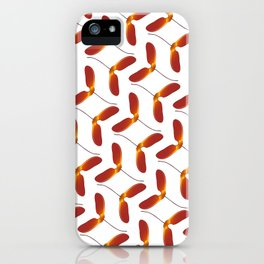 Red Japanese Maple Tree Samara Zigzag Pattern With Alternate Orientation iPhone Case