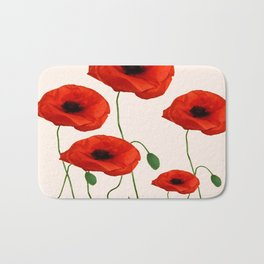 GRAPHIC RED POPPY FLOWERS ON WHITE Bath Mat