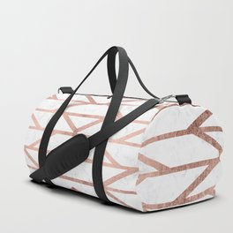 Modern faux rose gold herringbone chevron pattern Duffle Bag