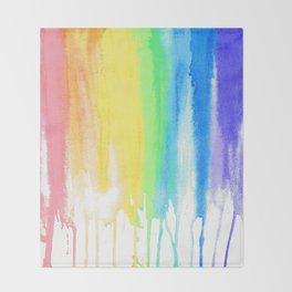 Rainbow Watercolor Drip Throw Blanket