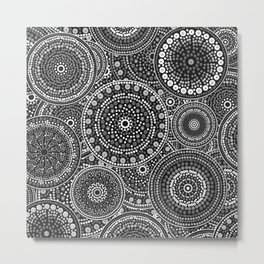 Dot Art Circles Grayscale Metal Print