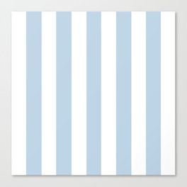 Beau blue - solid color - white vertical lines pattern Canvas Print