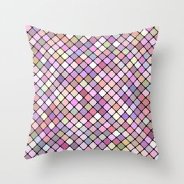 Happy Square Grid Throw Pillow