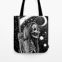 tarot Tote Bags featuring Death Tarot by Corinne Elyse