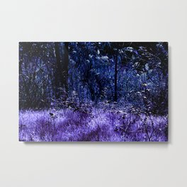 Indigo purple landscape alien planet night bright Metal Print