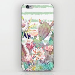 Watercolor cactus, floral and stripes design iPhone Skin