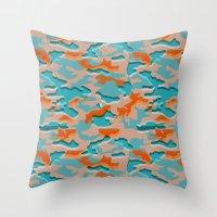 military Throw Pillows featuring Autumn military by Pimpa Gerroc