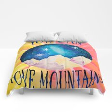 You Can Move Mountains - Galaxy Night Sky Motivational Watercolor Comforters