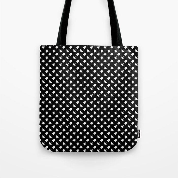 White Stars on Black Tote Bag