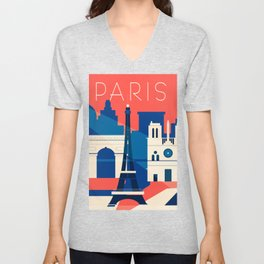 Abstract Paris Unisex V-Neck