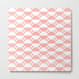 Mid Century Modern Half Circles Pattern Peach Metal Print