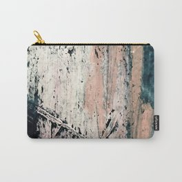 Kelly: a bold, textured, abstract mixed media piece in bright pinks, blues, and white Carry-All Pouch