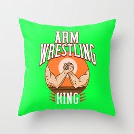 Arm Wrestling Gift Wrestler Trainer Game Throw Pillow