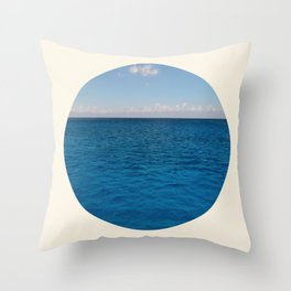 Water & Sky Horizon Round Photo Throw Pillow