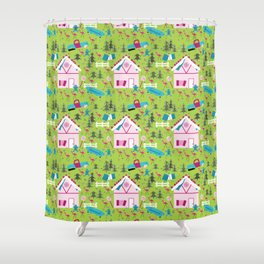 White Trash Christmas Gingerbread House Shower Curtain