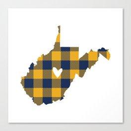 West Virginia Buffalo Plaid Outline Canvas Print
