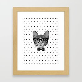 Cat Hipster With Bow Tie - Polka Dots Pattern Framed Art Print