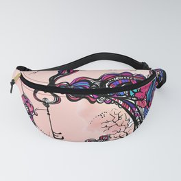 The Key is Within Black Inked Color Illustration Fanny Pack