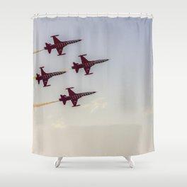 Turkish acrobatic aviation squadron flying over Izmir (Turkey) Shower Curtain