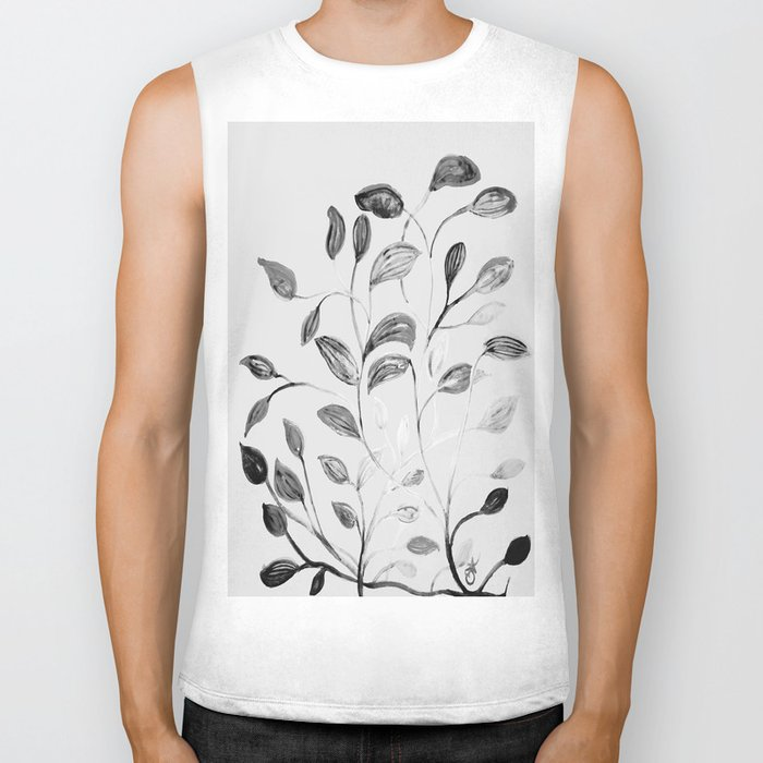 Red and Green Leaves! Romantic Silver Grey! Biker Tank