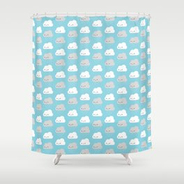 Happy and Sad Kawaii Clouds Shower Curtain