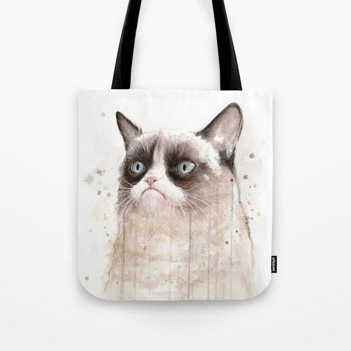 Grumpy Watercolor Cat Geek Meme Whimsical Animals Tote Bag