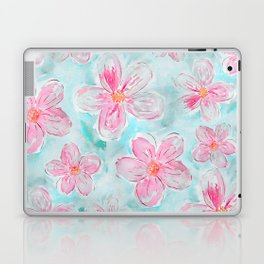 Hand painted teal fuchsia watercolor floral Laptop & iPad Skin