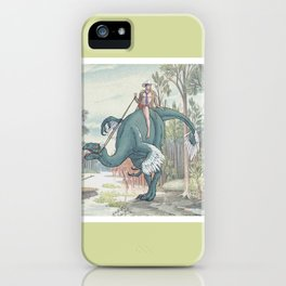 Castiel Pinup on a Dinosaur iPhone Case