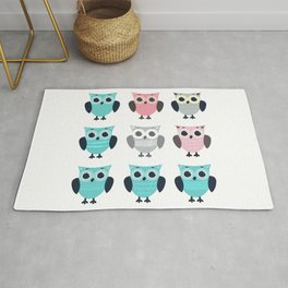 Set of cute cartoon owls in different style and color  on white background Rug