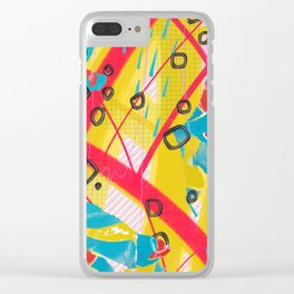 Yellow, pink and blue digital abstract collage design Clear iPhone Case