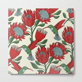 Protea with Hummingbird / Sunbird (Cream) Metal Print