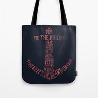feet Tote Bags featuring You be the anchor that keeps my feet on the ground... by Alejandro Giraldo